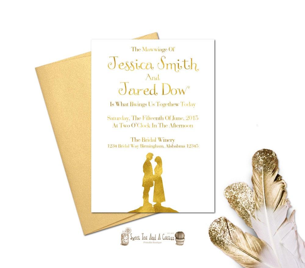 Princess Bride Wedding Invitation Printable Movie Download