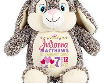 Personalised BUNNY Cubbie Stuffies Gift, Christening, Birthday, Wedding, Any Occasion, Any message