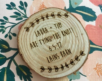 Wooden Log Slice Save the Date Magnet