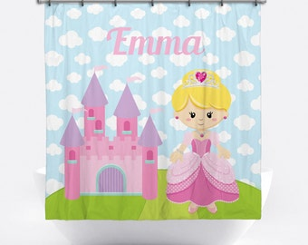 Princess Personalized Shower Curtain for Girls - Princess Shower Curtain with Name - Custom Princess Bath Decor - Pink Princess Bath Curtain