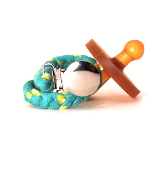 Pacifier Clip / Teal and Green Floral Braided Pacifier Clip / pacifier holder / neutral gift / shower gift / Jersey Braided Pacifier clip
