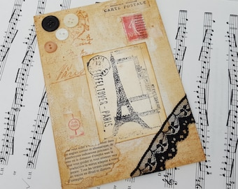 Paris art collage, Eiffel Tower canvas mixed media original art, vinatage style, buttons, lace, French dictionary