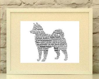 Personalised Alaskan Malamute Print - Unframed Print - Dog picture - Dog Portrait - Alaskan Malamute Gift  - Dog Lover Gift - Maly Mal Mally