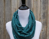 Margaret Infinity Scarf / Green Teal / Novelty Arrow Print / Jersey Knit / Spring Layers