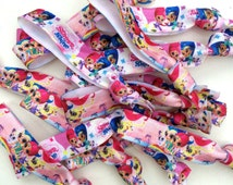Shimmer and Shine Genies Mix Elastic Hair Ties Favors Giveaways Loot Bags  16, 24, 30 Packs Shimmer and Shine Birthday Party Favors