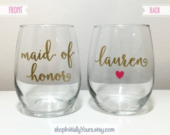 Maid of Honor Wine Glass, Personalized Maid of Honor Stemless Wine Glass, Custom Maid of Honor Gift, Matron of Honor Wine Glass, MOH Gift