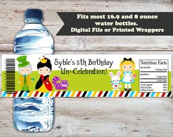 Alice in Wonderland Water Labels, Alice in Wonderland Water Bottle Wrapper, Water Bottle Labels, Alice In Wonderland Party Favors, Tea Party