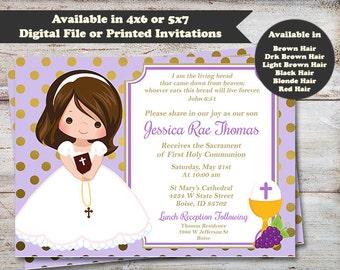 Holy Communion Invitations, Purple, First Communion Announcements, First Holy Communion, First Communion, Digital File or Printed Invitation