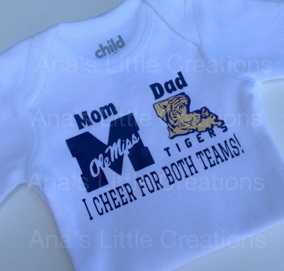 Custom House Divided Bodysuit (Ole Miss- LSU Tigers) I Cheer For Both Teams