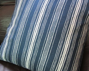 Set of 3 navy blue and white nautical or beach themed throw pillow, 16x16 easy care