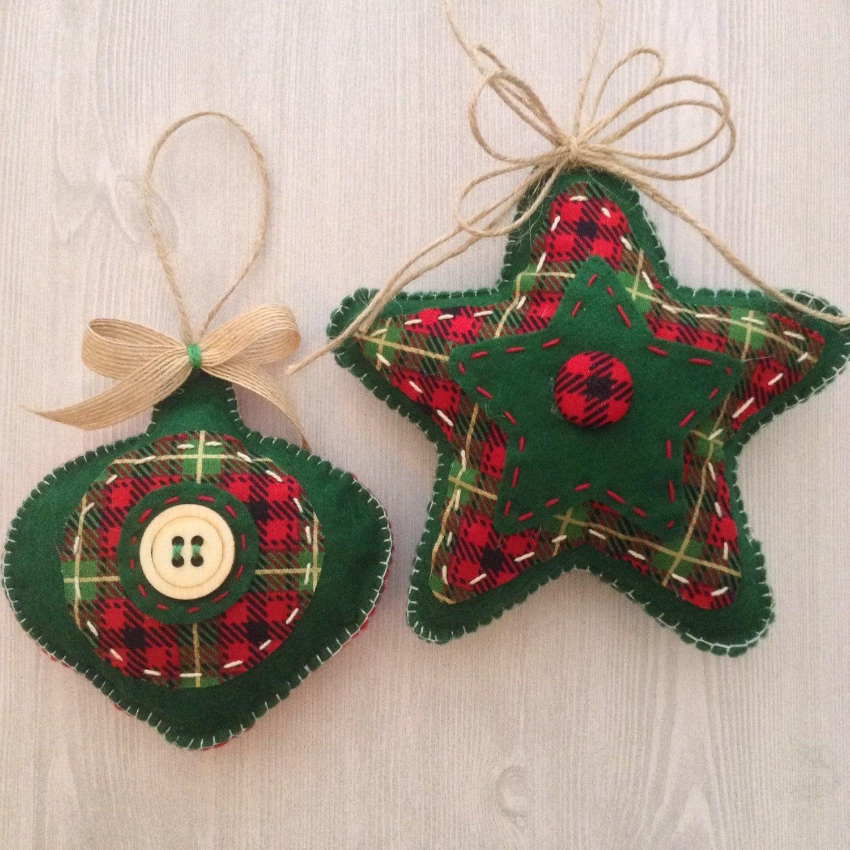 Christmas handmade ornaments plaid classic