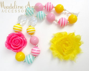 Yellow Hot Pink Rose Baby Necklace, Girls Bubblegum Necklace, Stripe Toddler Necklace, Yellow Pink Cake Smash, Beads, Chunky Baby Necklace