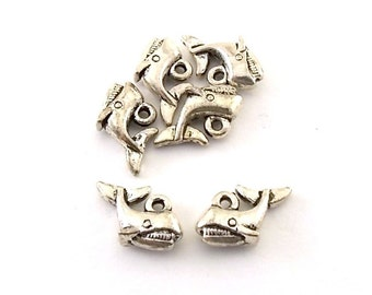 Charms 6 Antique Silver Tiny Whale Charms
