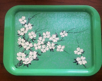1950s Green Metal Tray with White Cherry Blossoms