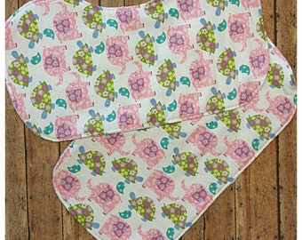 Elephant and turtle burp cloth set, Contoured burp cloth, Babyshower gift idea, Baby girl burp cloth, Baby burpies, Nursery design idea