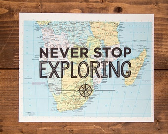"Southern Africa Map Print, Never Stop Exploring, Great Travel Gift, 8"" x 10"" Letterpress Print"