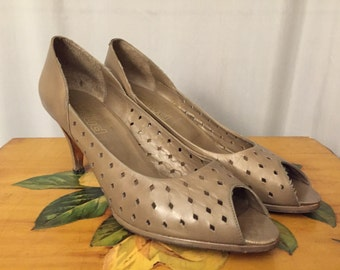 Leather Heels Peep Toe Pumps Gray Grey Vintage Women's Size 10