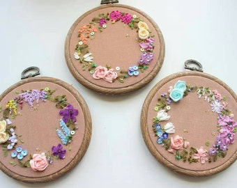 PERSONALISE. Hoop art. Floral embroidery. floral art. Silk ribbon embroidery. hoop art. wall art. wall decor. mothers day. gift