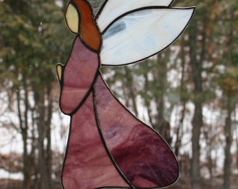 Stained Glass Angel - purple opalescent dress