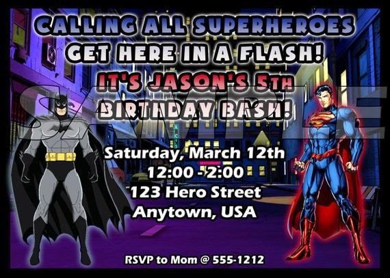 Batman vs. Superman Birthday Party Digital Invitation for Printing at Home Superhero Digital Birthday Party Invitation