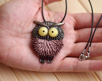 Polymer clay owl necklace