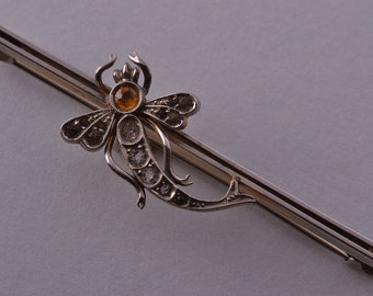 Silver Gilt Edwardian Dragonfly Brooch With Paste (854p)