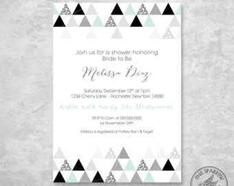Modern Triangle Patterned Bridal/Baby Shower, B&W Mint