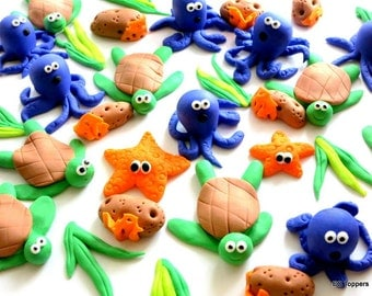 Large Set Ocean collection / Sea Creatures/ Under the sea Cupcake / Cake Toppers