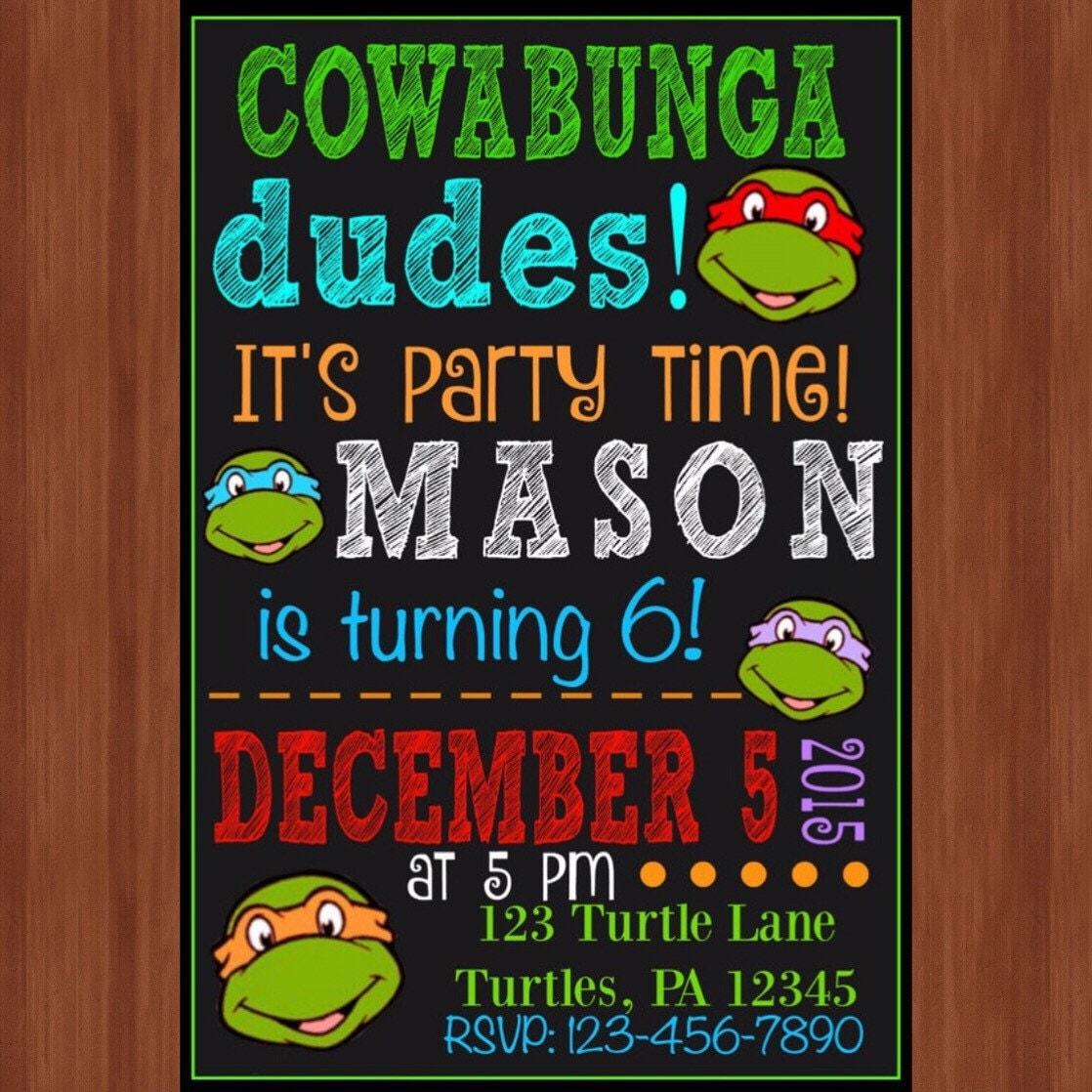 Ninja Turtle Birthday Party Invitation Ninja Turtles