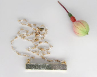 gold gray druzy necklace, 24k gold rectangular druzy necklace, white topaz neclace, hand made white topaz and 24k gold vermeil rosary chain
