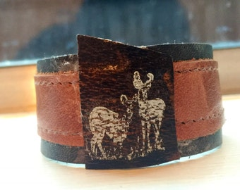 Leather wrist cuff with deer print