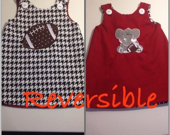 Reversible dress romper, game day outfit, houndstooth and Crimson