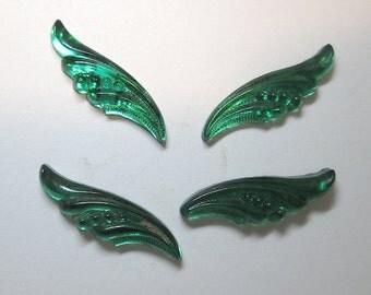 Green Glitterback Angel Wing Cabochons