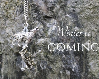 House Stark Sigil Key Pendant | Inspired by Game of Thrones | Jon / Sansa / Arya / Bran | Winter is Coming | Direwolf / Nymeria / Ghost