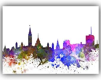 Ottawa Canada Skyline Print, Watercolor Art, Ottawa Canada Art, City Poster, City Skyline, Wall Art, Cityscape, Home Decor *24*