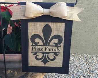 Custom, personalized,monogrammed Fleur de lis burlap garden flag