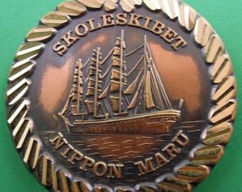 Medal Nippon Maru fourmaster sailing ship from Japan - vintage