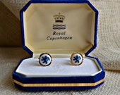 Vintage Royal Copenhagen Porcelain Cufflinks // blue and white cufflinks // Lion and Crown design