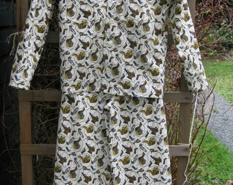 On Sale! Cowboy Sleepwear.  Classic Pajama Set.  Handmade Children's Cowboy Cotton Pajamas.  Saddles, Boots and Spurs. Size 7/8 Pajamas.