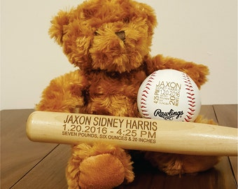 Personalized Engraved Baseball Bat for Baby Birth Announcement, Newborn Stats, Sports Nursery, Baseball Bat Photo Prop
