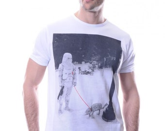 Star Wars Stormtrooper and AT&AT Mens T shirt Cotton Crew Neck Fitted S to XL