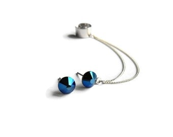 Blue Stud Ear Cuff Earrings, Cuff earrings with silver chain, Stud earrings