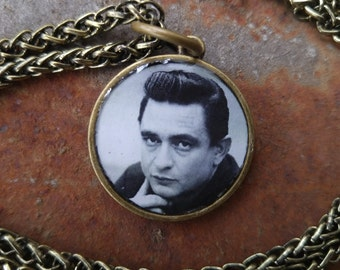 Johnny Cash Vintage Photo Pendant Necklace