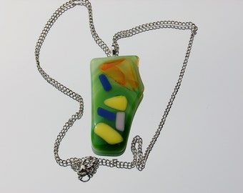 Fused Glass Pendant,lime green fused glass necklace,jewlery,yellow blue orange fused glass chain pendant
