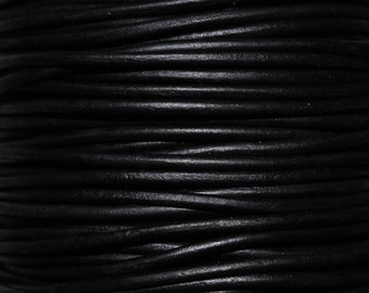 Matte Black / 3mm Leather Cord / leather by the yard / round leather cord / genuine leather / necklace cord / bracelet cord