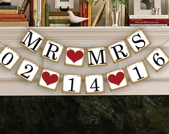MR MRS Save The Date Banner - Wedding Garland - Sign - Photo Booth Props