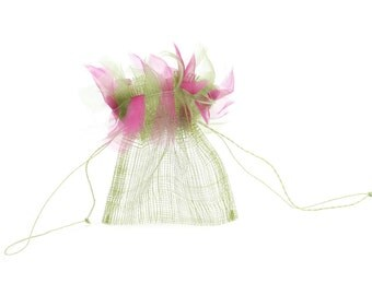 Natural Sinamay Mesh Pouches for Wedding/Party Favors (pack of 12) Olive Green w/ Hot Pink & Olive Green Frizz (XCPBxx-F09)
