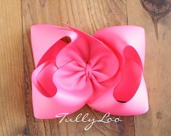 Bubblegum Pink Jumbo Basic Boutique Hair Bow 6 inches across Choose your clip, I love big Bows and I cannot lie, girls hair accessory  clip