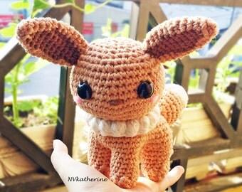 DISCOUNTED SHIPPING Eevee Made-to-order Crochet Amigurumi, Shiny Eevee Plushies, Eeveelutions, Pokemon plush toy