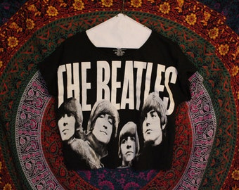The Beatles Crop Top Black T Shirt size Small